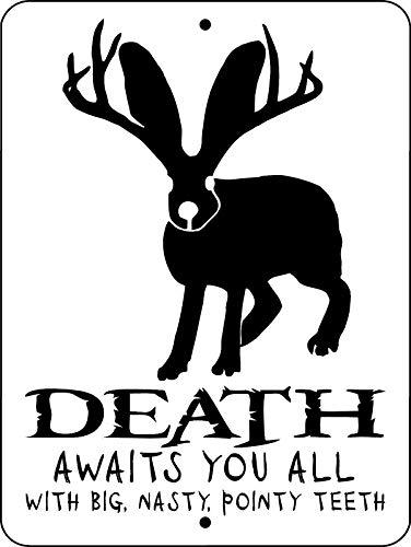 Dozili Metal Sign Rabbit Jackalope Beware Death Aluminum for sale  Delivered anywhere in USA