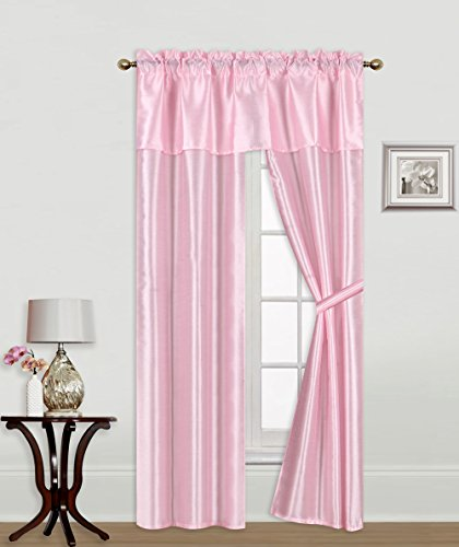 GorgeousHome  5pc Solid Rod Pocket Faux Silk Window Curtain,