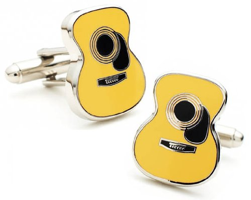 Rhodium Plated Acoustic Guitar Cufflinks Country Music Rhodium Cufflinks Cufflink