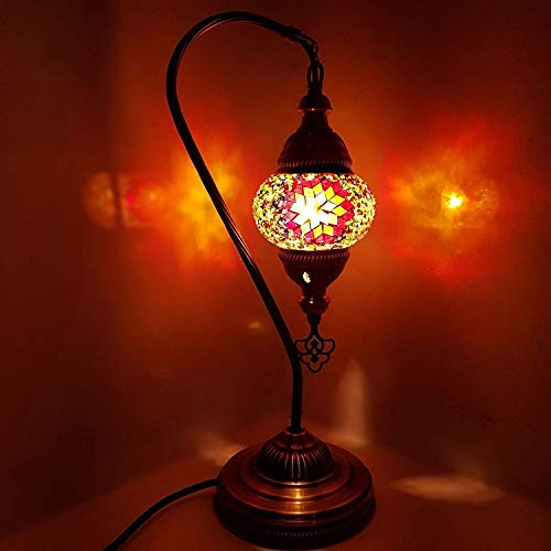 Handmade Turkish Moroccan Arabian Eastern Bohemian Tiffany Style Glass Mosaic Colourful Table Desk Lamp Lamps Home Decor (SM2) by LaModaHome