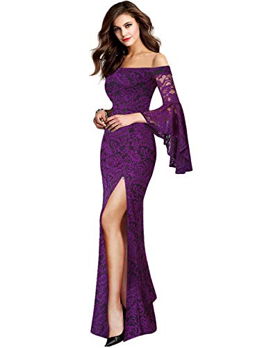- VFSHOW Womens Purple Lace Off Shoulder Ruffle Bell Sleeve Formal Evening Wedding Maxi Dress 2152 PUP XL