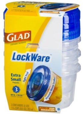 Glad Lockware Food Storage Extra Small 9.5 oz Lunch Containers (2 Pack) 3 Bowls Each for a Total of 6 Anti-Leak Bowls