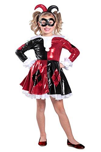 Princess Paradise Harley Quinn Premium Child Dress Costume, Red/Black/White, -