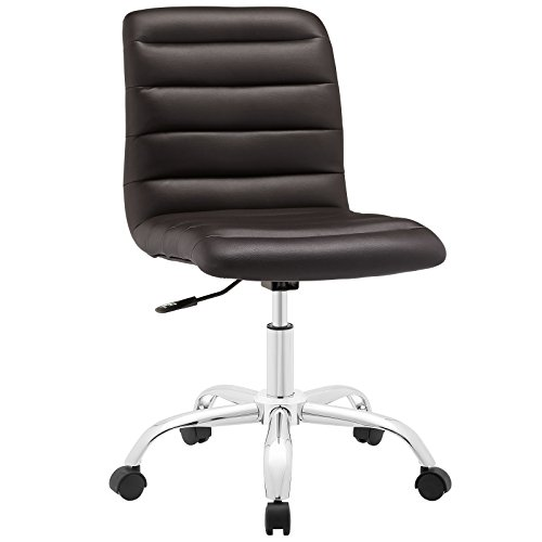 (Modway Ripple Ribbed Armless Mid Back Swivel Computer Desk Office Chair In Brown)