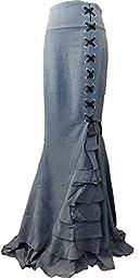 -Rainy Night in London- Gray Victorian Gothic Ruffle Steam punk Vintage Style Skirt (XL, Gray)