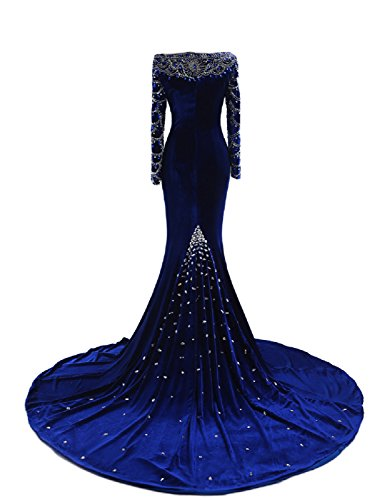 OYISHA Womens Long Sleeve Mermaid Evening Dress Beaded Wedding Gown Formal EV136 at Amazon Womens Clothing store: