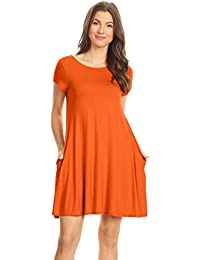 Casual T Shirt Dress for Women Flowy Tunic Dress with Pockets Reg and Plus Size -