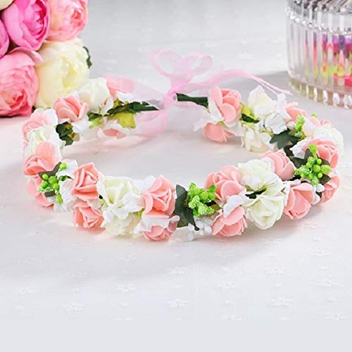 korean sen women girls garland tiara diadem crown bride bridesmaids wedding photo headdress head ring bracelet bangle seaside child girl headband photography (strawberry flower (splendor version) garl