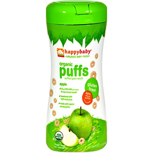 Happy Baby Organic Puffs Apple - Gluten Free - Baby Food - 2.1 oz - Case of 6 by Happy Baby