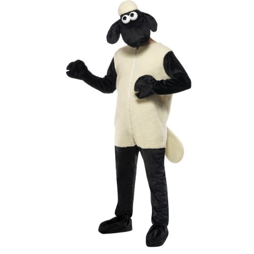 Gemz Fancy Dress Men's Shaun The Sheep Costume One Size Fits All White & Black