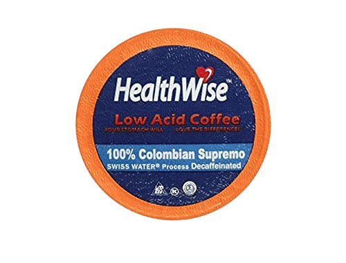 Healthwise Low Acid Swiss Water Decaffeinated Coffee For Keurig K Cup Brewers  100  Colombian Decaf Supremo  12 Count
