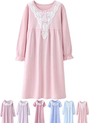 Abalacoco Girls Kids Princess Lace Nightgown Long Sleeve Cotton Sleepwear Dress Pretty V-Neck Loose Homewear 10-11 Years V/Pink