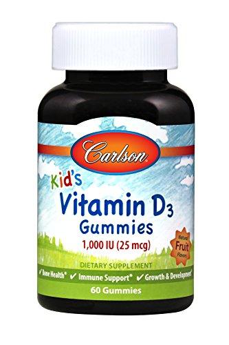 Carlson Kid's Vitamin D3 Gummies, Bone Health, Assorted Fruit Flavors, 60 Gummies