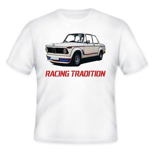 TEESANDENGINES BMW 2002 TURBO INSPIRED Camiseta blanca para hombre de algodon Size Small