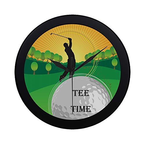 Tee Time Golf Clock - APJDFNKL Modern Simple Play Golf Club Tee Time Golf Tee Time Pattern Wall Clock Indoor Non-Ticking Silent Quartz Quiet Sweep Movement Wall Clcok for Office,Bathroom,livingroom Decorative 9.65 Inch