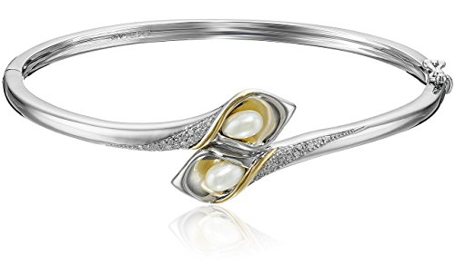 Sterling Silver and 14k Yellow Gold Freshwater Cultured Pearl and Diamond Bangle Bracelet (1/10 cttw, I-J Color, I2-I3 - Diamond Com Pearl Bracelets