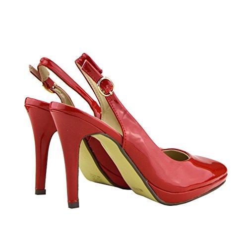 Kick Footwear - Kick Footwear Womens Stiletto Heels Slingback Party , Office Shoes Red-rouge - 16034