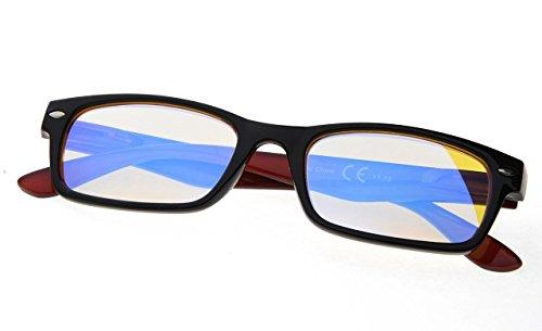(Visionkr Reduce Eyestrain,Anti Blue Rays,UV Protection Computer Reading Glasses(Black-Red,Amber Tinted Lenses))