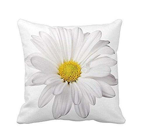 NiceButy blanco Daisy flor con brillante corazón amarillo almohadas manta decorativa Funda de almohada Funda para cojín cuadrado cojín para casa o ...