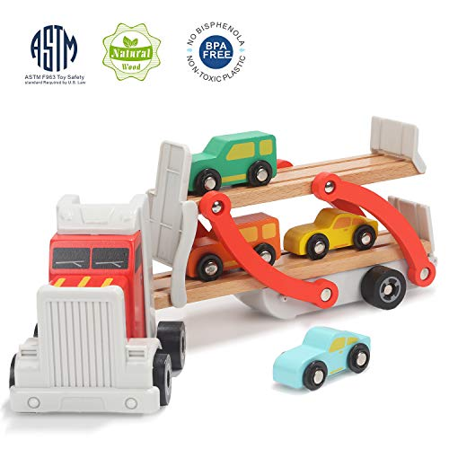 TOP BRIGHT Wooden Car Toys for 2 3 Year Old Boy Gifts Toddler Boys Truck and Car Ramp Toy with 4 Mini Cars ()