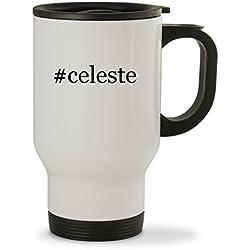 #celeste - 14oz Hashtag Sturdy Stainless Steel Travel Mug, White