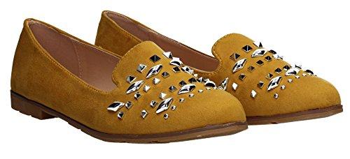 Gelb Loafers Schuhe Nietenbesetzte Edgy Damen Detail Kiara Wildleder SwankySwans Größe qvIwzg0