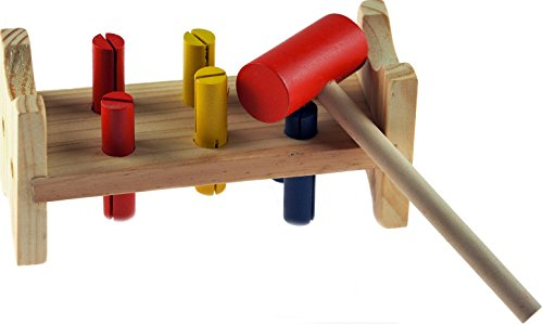 Small Wooden Baby Toddler Hammer Bench Toy