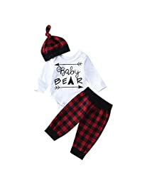 Infant Newborn Baby Boy Girl Bear Romper+Plaid Long Pants+Hat Outfits Clothes Set
