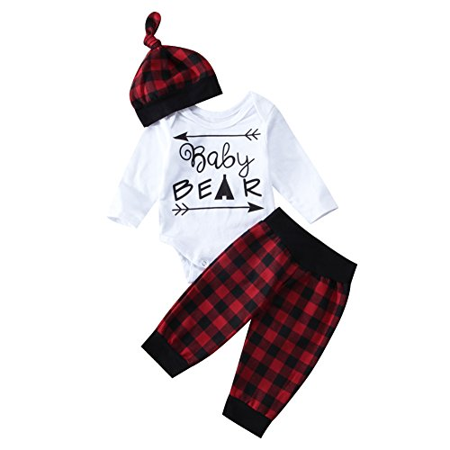 BiggerStore Infant Newborn Baby Boy Girl Long Sleeve Bear Romper+Plaid Long Pants+Hat Outfits Clothes Set (0-3 Months, -