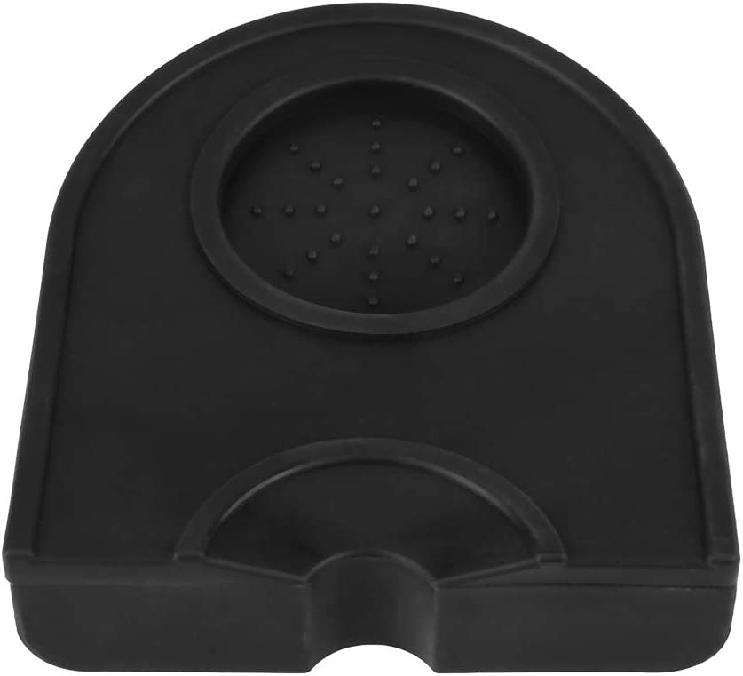Coffee Tamper Holder Coffee Holder Silicone Pad with Small Suspended Part Fits for Edge of The Desk Coffee Maker Tamper Mat Black Bar or Operating Table