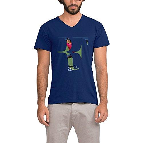 Roger Federer Logo 100% Cotton Costume T-Shirt Large Navy For Men (Tennis Player Costumes)