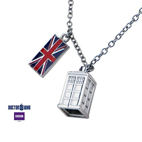 (Doctor Who Union Jack Phone Booth Tardis 2 Charm Pendant Costume Necklace)