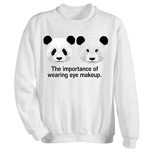 WHAT ON EARTH Women's The Importance of Wearing Eye Makeup Sweatshirt - White - Small