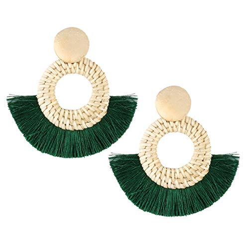 Twinsmall Dangle Earrings Tassel Hoop Earrings Bohemia Fan Shape Drop Earrings Dangle Hook Eardrop for Women Party ... (Green) (Ear Goddess Cuff)