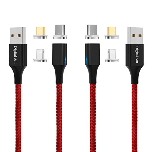 Digital Ant Gen-X USB C+Micro USB+i-Product 3 Tips in 1 Nylon Braided Magnetic Fast Charging & Data Sync Cable Compatible with USB-C, Micro-USB and i-Product (5-Feet Red, 2-Pack)