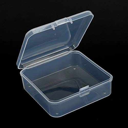 Kingrol 24 Pack Mini ClearPlastic Storage Containers with Lids, 2-7/8 x 2-7/8 x 1 Inch Empty Hinged Boxes for Beads, Jewelry, Tools, Craft Supplies, Flossers, Fishing