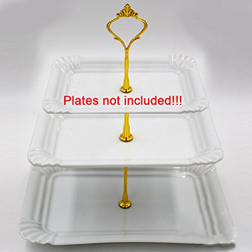 3 Tier Cake and Pastry Stand Server,Cupcake Stand Cake Dessert Appetizer Decoration Centerpiece For Weddings, Tea Party, Holiday Dinners, or Birthday Parties (Golden) by INLAR (Image #5)