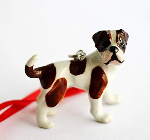 American Bulldog Small Christmas Ornament Dog Porcelain Animal Figurine Charm