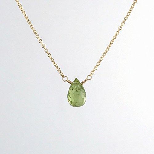 Tiny Peridot Choker Necklace - August Birthstone