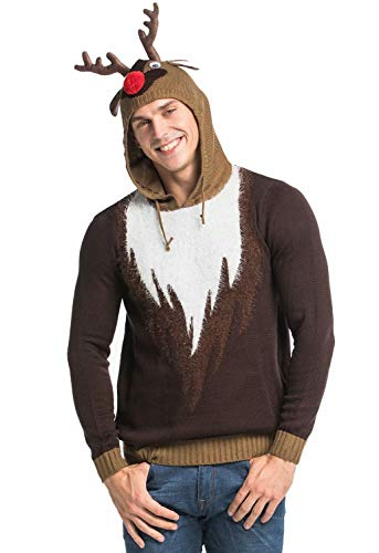 Unisex Women's Ugly Christmas Sweater Hoodie Funny Knitted Fur Reindeer Pullover Sweatshirt - Real Reindeer Wear Fur, XX-Large