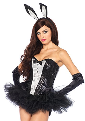 Leg Avenue Women's 3pc. Bunny Accessory kit, Includes Gloves, Ears, and Tail, Black,