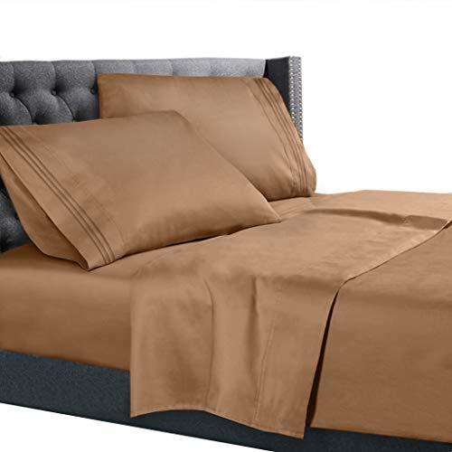 Nestl Bedding 4 Piece Sheet Set - 1800 Deep Pocket Bed Sheet Set - Hotel Luxury Double Brushed Microfiber Sheets - Deep Pocket Fitted Sheet, Flat Sheet, Pillow Cases, RV/Short Queen - Mocha