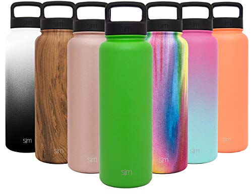 Simple Modern 40 oz Summit Water Bottle - Stainless Steel Liter Flask +2 Lids - Wide Mouth Double Wall Vacuum Insulated Green Leakproof Thermos -Candy Apple