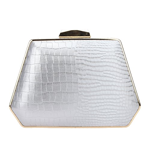 Evening Clutch Purse for Women Handbag Bags Gray Snake Box Pattern Bonjanvye nz8qxRIXt