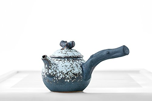 Teapot Side Handle Lid Mottled Glaze Chinese Tea Pot Kettle Clay Ceramics Teaware (white, blue)