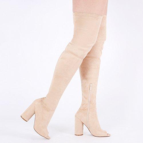 le compensé à Faux longues talon 3 genou femmes sur Bottes pour Suede 8 Nude RU0wqxx
