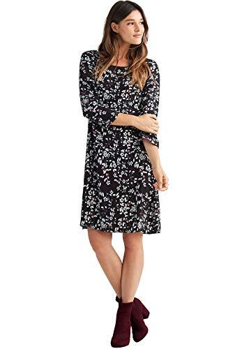 (Ellos Women's Plus Size Keyhole Back Shift Dress - Black White Floral Print, 24)