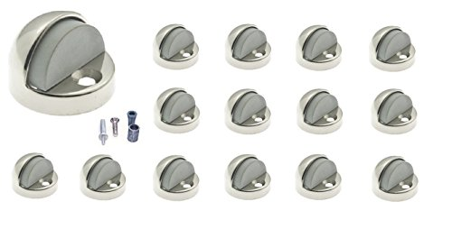 idh by St. Simons Premium Quality Geniune Solid Brass High Profile Dome Stop (15 Pack), Polished (Profile Polished Brass)