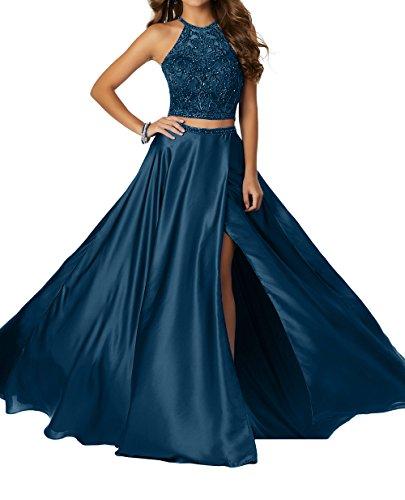 Damen Charmant Abschlussballkleider Dunkel Perlen Teilig Steine Blau Promkleider Abendkleider Langes mit Zwei Jugendweihe Kleider 6wpdwqA4