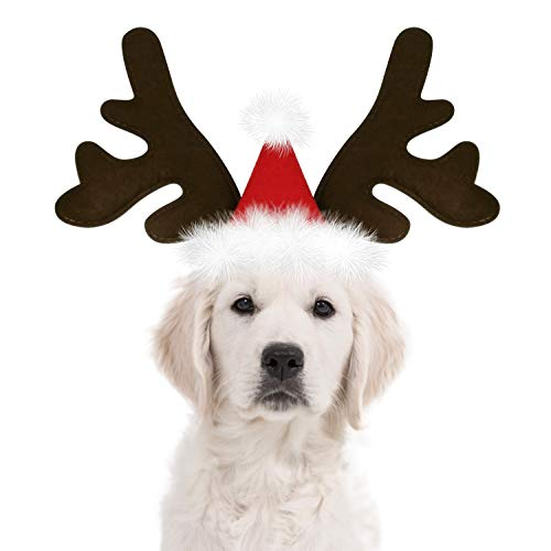 KUDES Dog Christmas Reindeer Antlers Headband Classic Elk Hat Headwear Pet Costumes Accessories